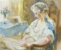 Jeune Fille Assise Young Lady Sitting - Otto Vautier
