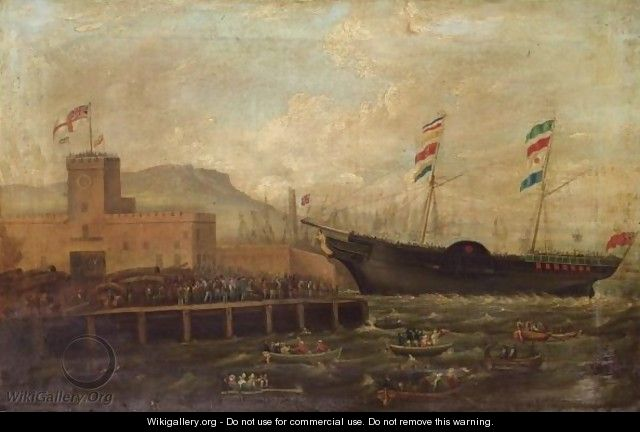 Launch Of The Steamship Aurora, From Belfast Harbour 1839 - Hugh Frazer