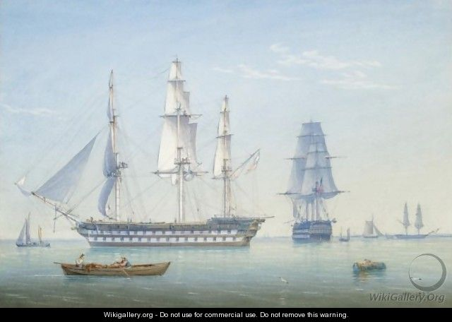 Two 64-Gun British Men-Of-War Ships In A Calm With Other Shipping - William Joy