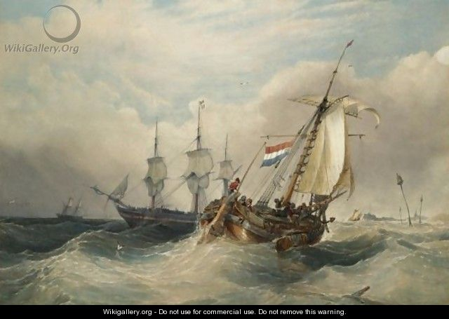A Dutch Fishing Vessel In Choppy Waters With Other Shipping Off The Coast - Charles Bentley