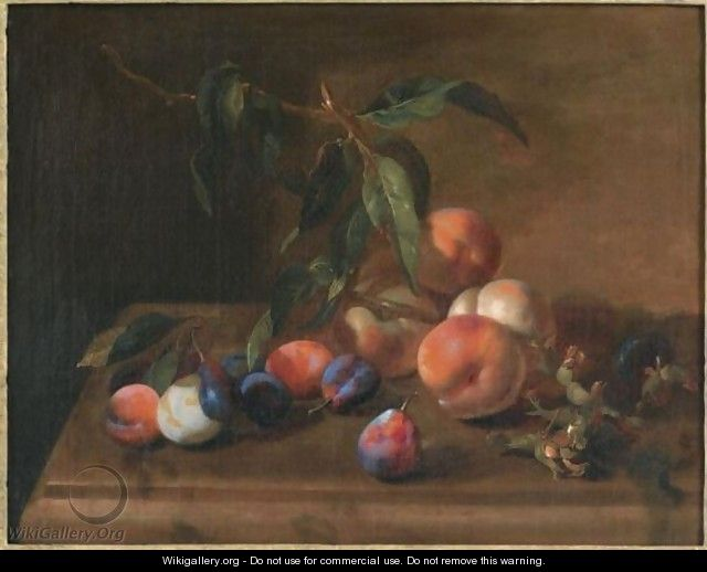 A Still Life With Peaches, Plums And Hazelnuts On A Wooden Table - (after) Jacques Charles Oudry