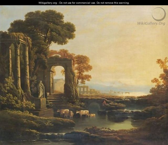 An Extensive River Landscape With Classical Ruins - (after) Claude Lorrain (Gellee)