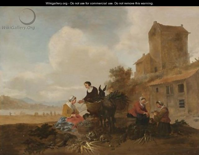 A River Landscape With Vegetable Sellers In The Foreground With A Donkey - Hendrik Mommers
