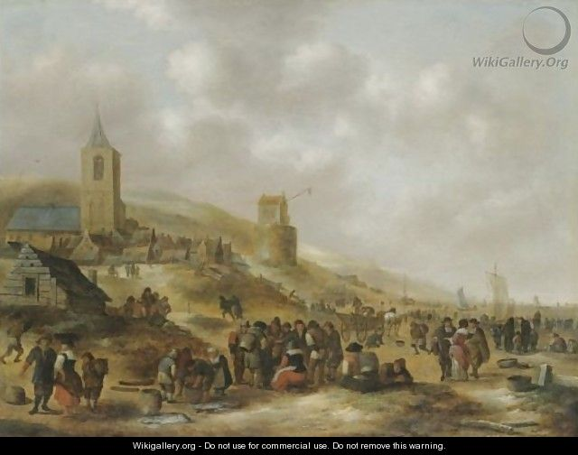 A View Of The Beach At Scheveningen With Fishermen Selling Their Catch - Claes Molenaar (see Molenaer)