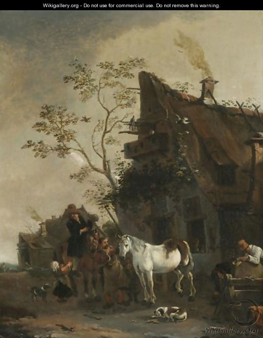 A Village Scene With Figures Outside A Farrier