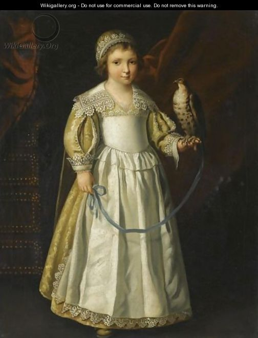Portrait Of A Anne-Marie De Chevreuse, Full Length, Holding A Falcon Aged Five Years Old - (after) Philippe De Champaigne