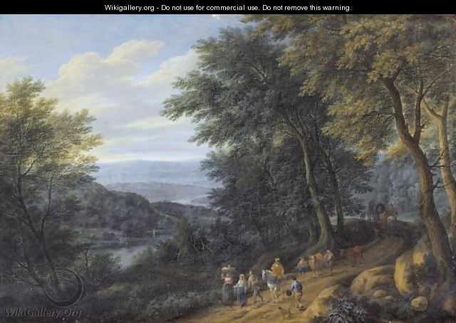 A Wooded Landscape With Figures Travelling Along A Path - Pieter Bout