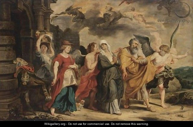The Flight Of Lot And His Family From Sodom - (after) Willem Van, The Elder Herp