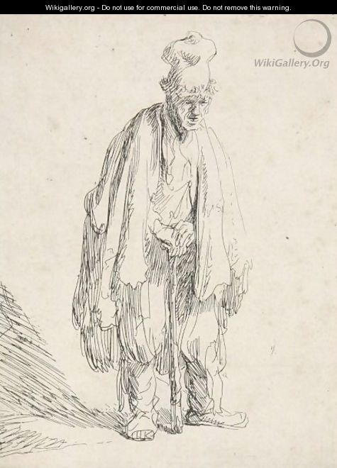 Beggar In A High Cap, Standing And Leaning On A Stick - Rembrandt Van Rijn