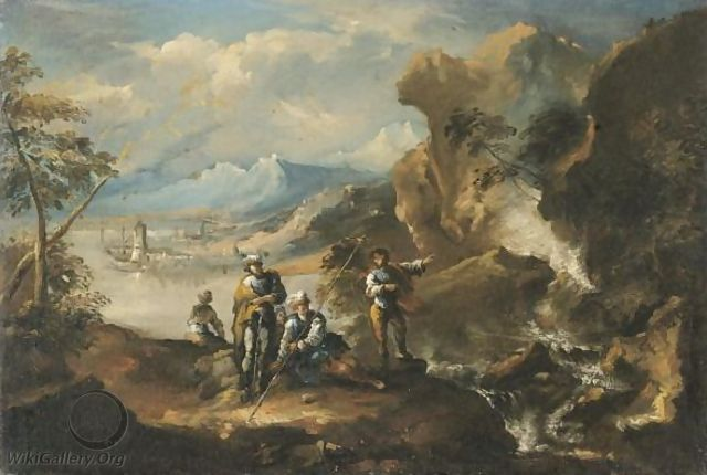 A Coastal Landscape With Figures Beside A Cascade - Antonio Marini