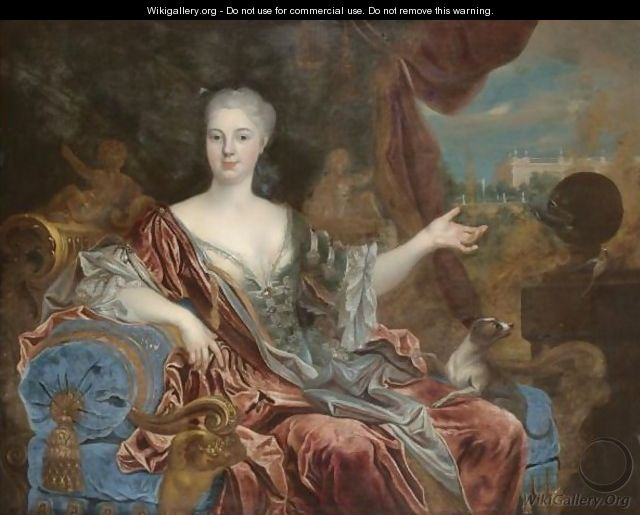 Portrait Of A Lady, Three-Quarter Length, Wearing A Blue Silk Dress With Lace Trim And A Red Shawl, Seated On A Blue Chaise Longue - (after) Nicolas De Largillierre