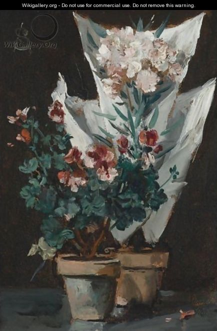 Still Life With Potted Geraniums - Alfred Stevens