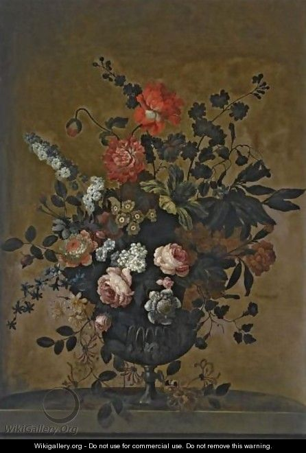 A Still Life With Roses, Tulips And Other Flowers In A Stone Vase On A Stone Ledge - (after) Jean-Baptiste Monnoyer