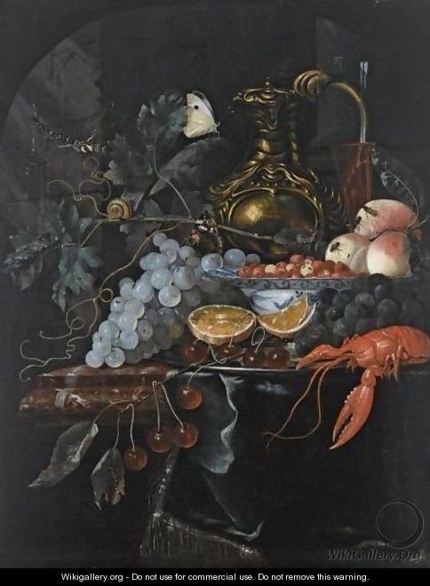 A Still Life With Grapes, Strawberries In A Porcelain Bowl, Peaches, A Silver-Gilt Jug - (after) Willem Van Aelst