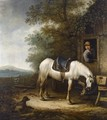 A Horse Near A Barn, With A Horseman Standing In The Doorway, A Dog In The Foreground - Haarlem School