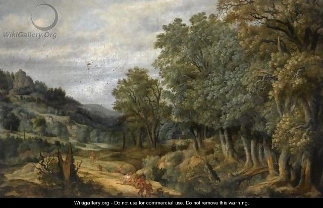 A Wooded Landscape With Travellers On A Path - Netherlandish School