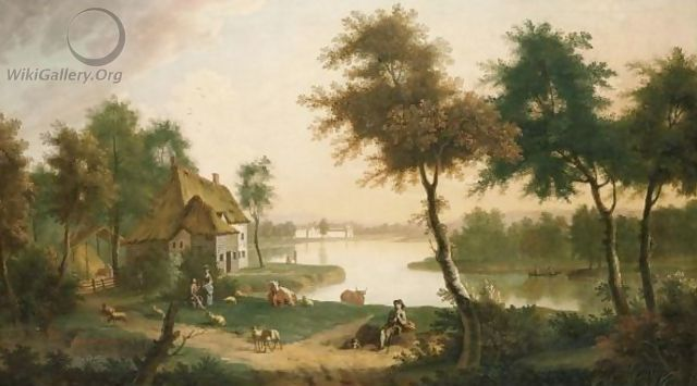 Extensive River Landscape With A Herdsman And Other Figures In The Foreground - George, of Chichester Smith