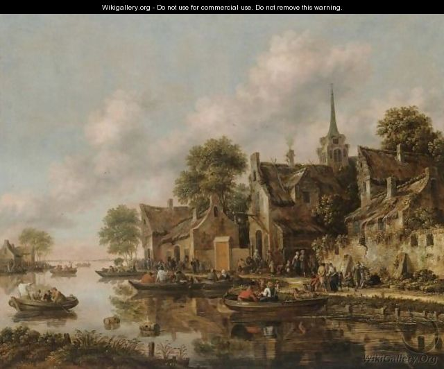 A River Landscape With Figures In Boats Moored Beside A Village - Thomas Heeremans