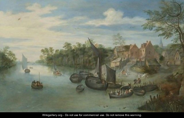 River Landscape With Boats Moored By A Village - Jan, the Younger Brueghel