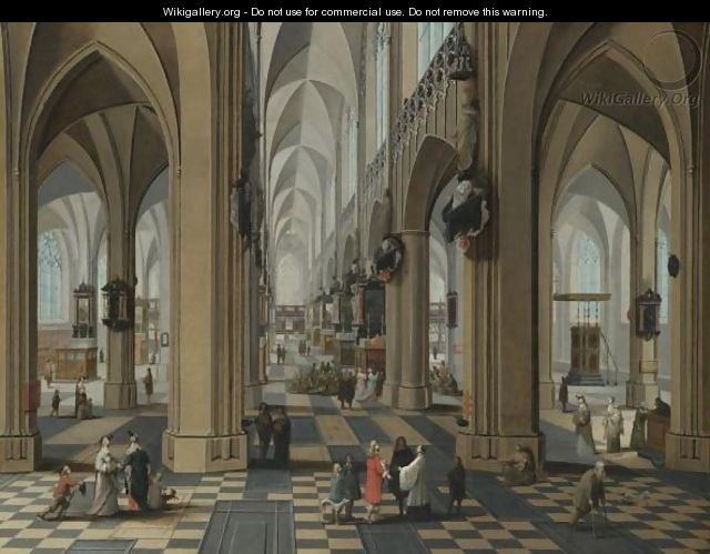 A Church Interior With Elegant Figures Strolling And Figures Attending Mass - Pieter the Elder Neefs
