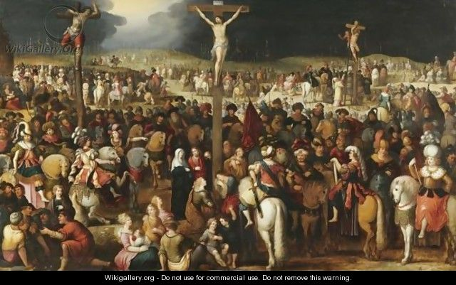 The Crucifixion On Mount Calvary - Louis de Caullery