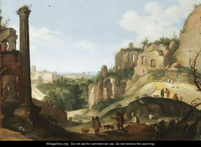 A Southern Landscape With Ruins, Possibly A Capriccio View Of Rome - Willem van, the Younger Nieulandt