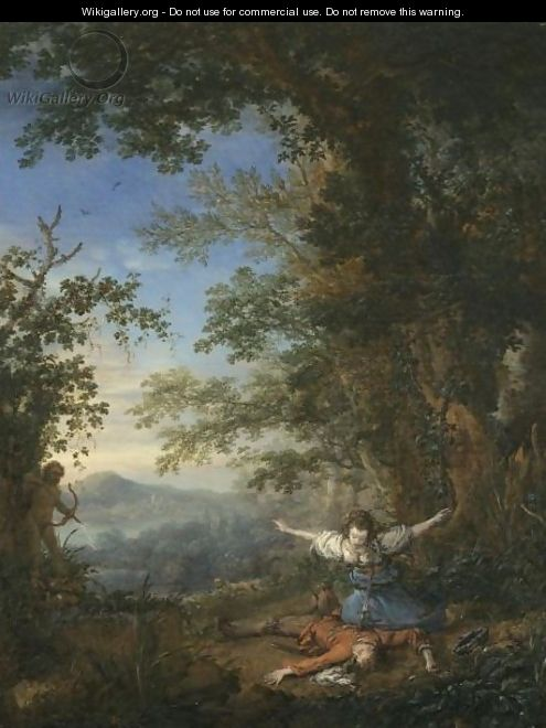 Pyramus And Thisbe In A Bosky Landscape - Philips Wouwerman
