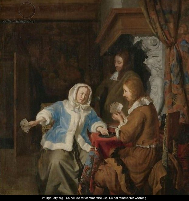 A Couple Playing Cards In An Interior, Observed By A Second Man - Joost Van Geel