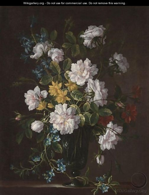 Still Life With A Bouquet Of Flowers In A Glass Vase - Jean-Baptiste Monnoyer