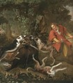 A Huntsmen And Dogs Attacking A Wild Boar - (after) Frans Snijders