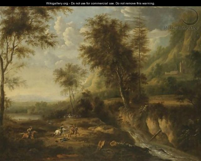 A Military Skirmish In An Expansive Wooded River Landscape - Frederick De Moucheron