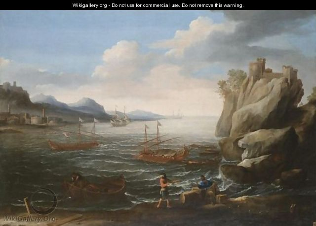 A Mediterranean Coastal Scene With Figures On The Shore In The Foreground - Roman School