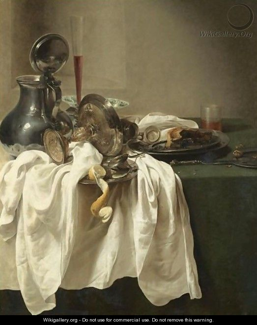 A Still Life With A Pewter Jug And An Overturned Tazza, A Porcelain Bowl, Wine Glass - Jan Jansz. den Uyl