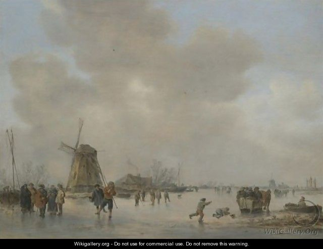 Winter Landscape With Skaters And Golfers On A Frozen River Near A Windmill - Jan van Goyen