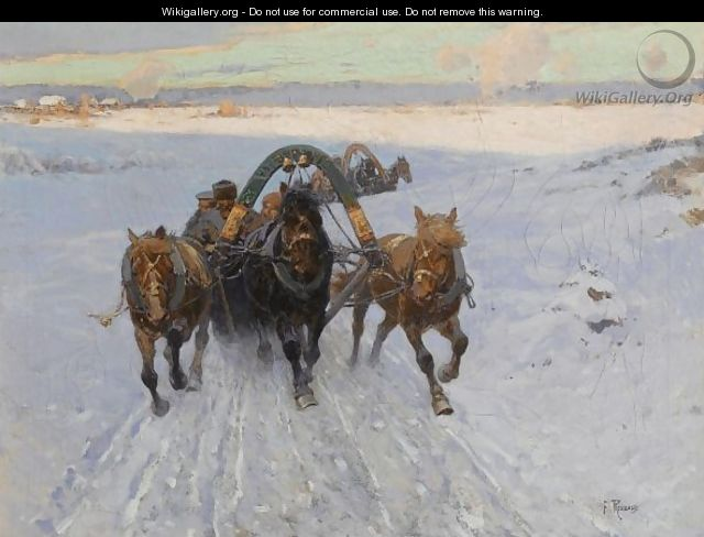 Troika Racing Through The Snow - Franz Roubaud