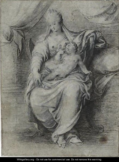 The Madonna And Child, Seated On A Throne In The Shape Of A Savonarola Chair, A Draped Curtain Behind Them - Isaac Oliver