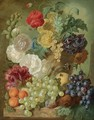 A Still Life With Hollyhocks, Poppies, An Anemone, Other Flowers And White-Currants In A Terracotta Vase - Jan van Os