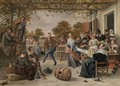 A Terrace With A Couple Dancing To A Pipe And Fiddle, Peasants Eating And Merrymaking Behind - Jan Havicksz. Steen