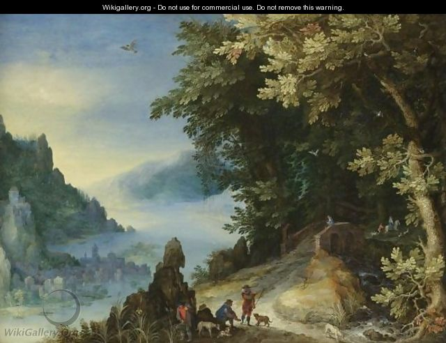 A Mountainous River Landscape With Travellers On A Hill Overlooking A Distant Town - Jan The Elder Brueghel