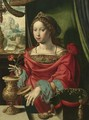 The Magdalene Seated At A Table By A Window, Opening A Gold-Encrusted Urn - Belgian Unknown Masters