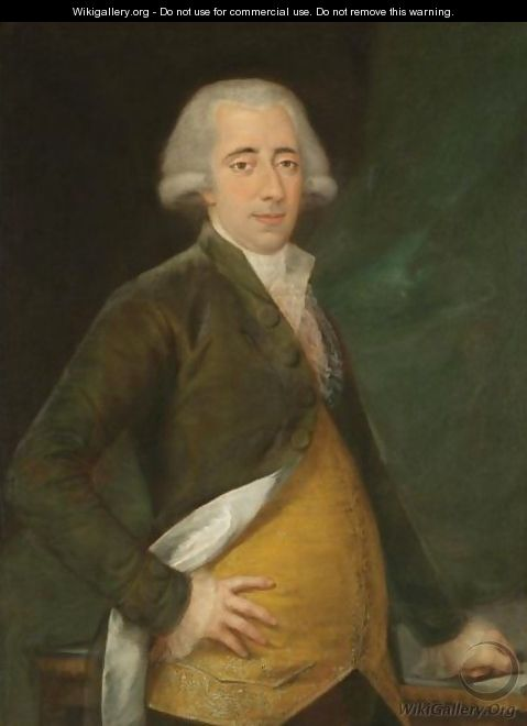 Portrait Of A Gentleman, Three Quarter Length, Wearing A Yellow Waistcoat And Green Coat - (after) Agustin Esteve Y Marques