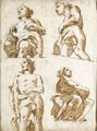 Four Partially Draped Allegorical Figures Seen From Below - Giovanni Domenico Tiepolo