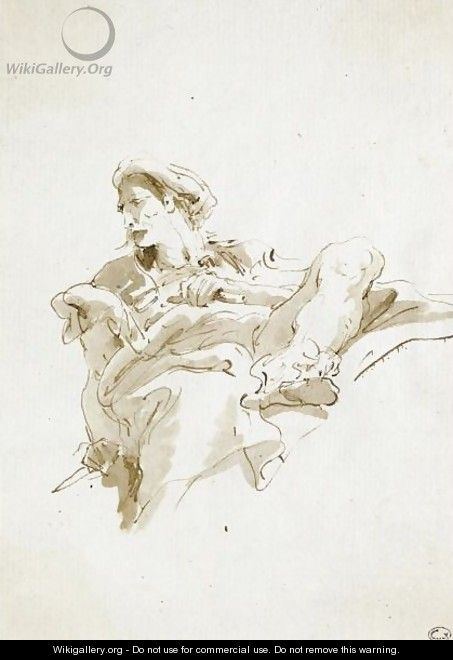 A Seated Oriental Figure, Seen From Below - Giovanni Battista Tiepolo