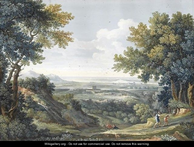 A View Of The Roman Campagna With Abraham And Isaac In The Foreground - Giovanni Battista Busiri