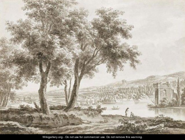 View Across A Landscaped Park, With A Country House To The Left And Figures By A Lake To The Right - Jacques Rigaud