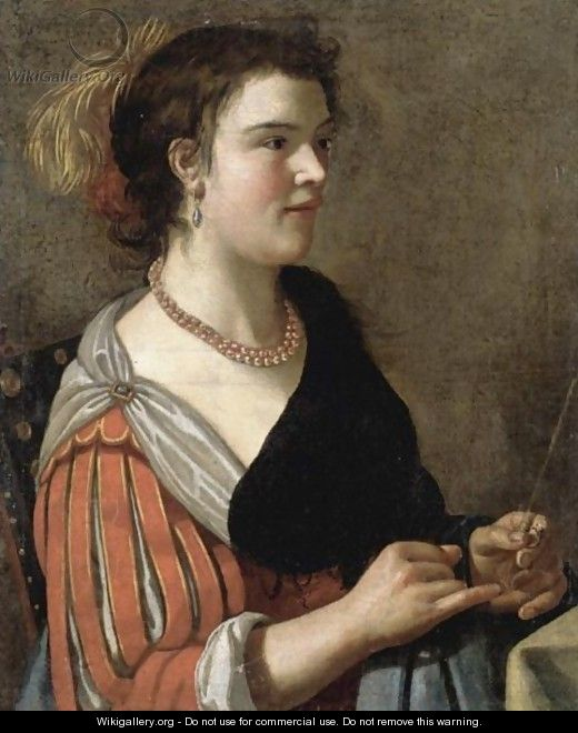 Portrait Of A Lady, Half Length, Dressed As A Fortune Teller And Holding A Divination Rod - (after) Adriaen Van Utrecht