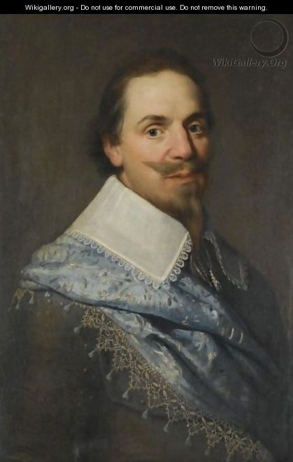 Portrait Of A Gentleman, Head And Shoulders, Wearing Grey With A Pale Blue Sash - (after) Michiel Jansz. Van Mierevelt