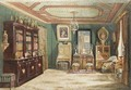 An Ornate French Living Room, A Bookcase To The Left With Several Sculptures On Top - Francois Etienne Villeret