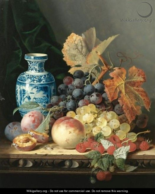 Still Life With A Chinese Vase, Grapes, Plums, Raspberries And A Peach On A Carved Wooden Tabletop - Edward Ladell