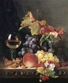 Still Life With A Wine Goblet And Silver Tazza, Grapes, Berries, Plums And Hazlenuts - Edward Ladell